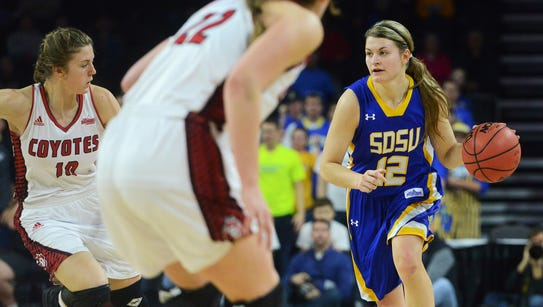 SDSU's Macy Miller (12) dribbles down the court alongside