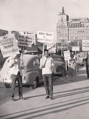 People protest against The Arizona Republic.  (Date unknown)