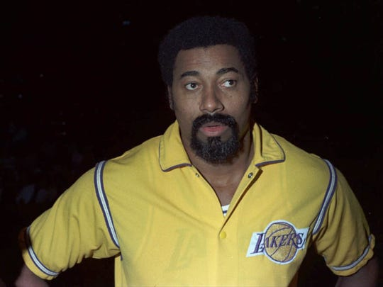 Wilt Chamberlain, center of the Los Angeles Lakers,