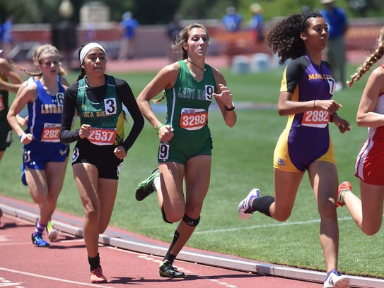 Wall's Jayden Fiebiger runs in the 800 meter Saturday, May 13, 2017, during Class 3A competition at the UIL State Track and Field Championships in Austin.