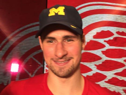 Red Wings forward Dylan Larkin, sporting a Michigan