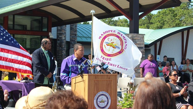 Mashpee Wampanoag Tribal Chairman Cedric Cromwell addresses the Tribal citizens at a news conference announcing details of historic Bureau of Indian Affairs land-into-trust decision in 2015.