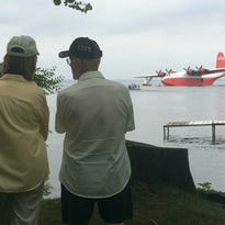 News media get the chance to tour the Martin Mars on Sunday, July 24, 2016, at the EAA Seaplane Base on Lake Winnebago as part of EAA AirVenture Oshkosh 2016.