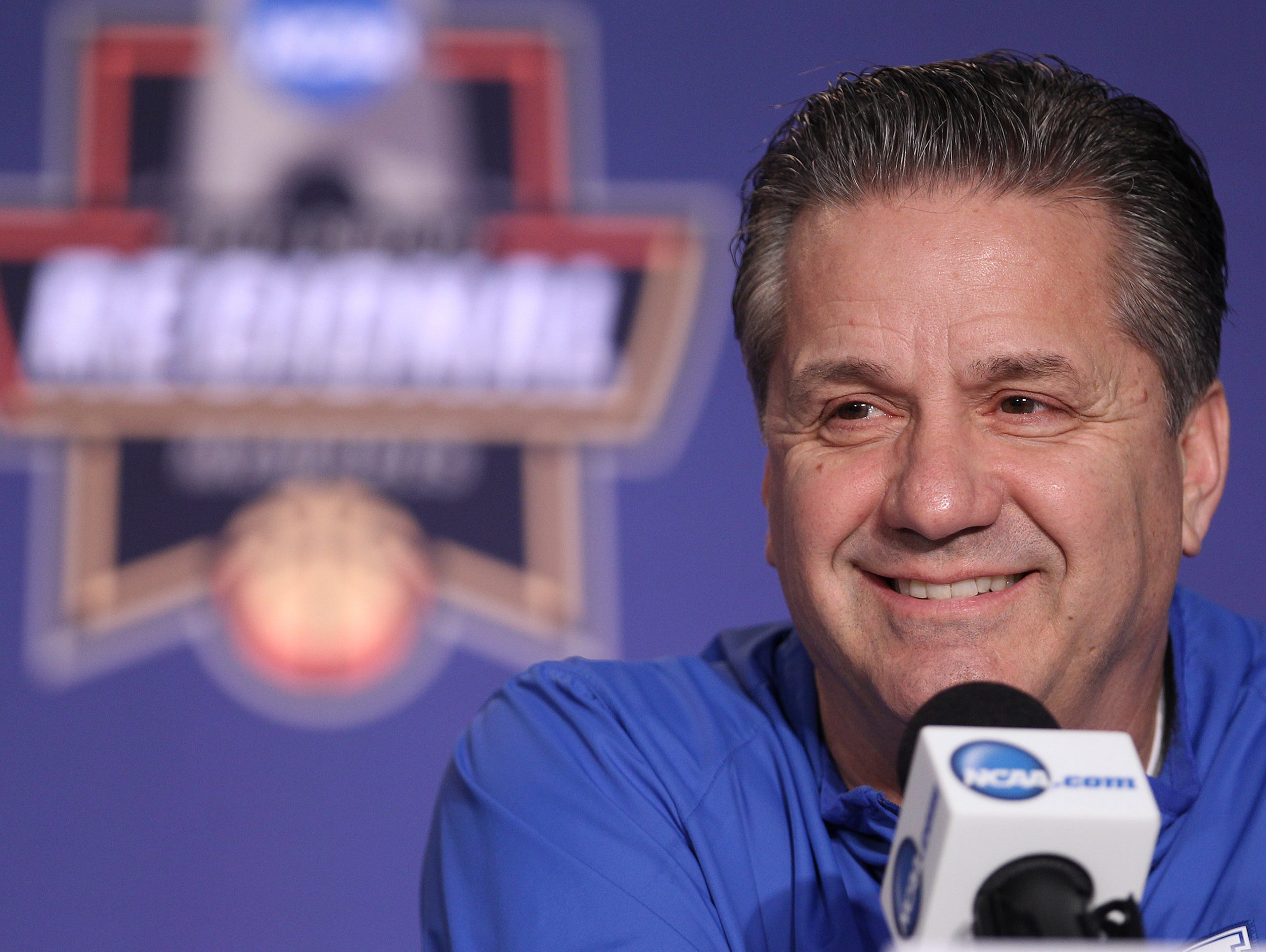 John Calipari speaks during the off-day press conference in Memphis. The Cats will take on North Carolina Sunday afternoon in Memphis to advance to the Final Four. March 25, 2017