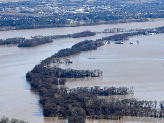 Flooded fields in Vanderburgh County as the flooding
