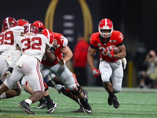 Georgia Bulldogs tailback Nick Chubb (27)