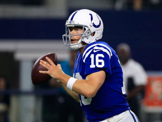 Indianapolis Colts quarterback Scott Tolzien (16) prepares to throw a pass in the first half of a preseason NFL football game against the Dallas Cowboys on Saturday, Aug. 19, 2017, in Arlington, Texas. (AP Photo/Ron Jenkins)