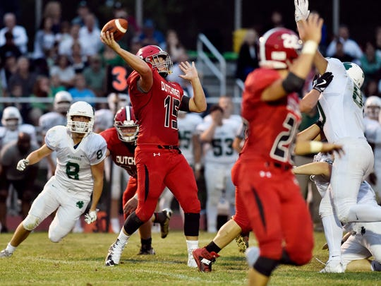 Annville-Cleona's Noah Myers throws a pass against Trinity in the first half of a high school football game Friday, Aug. 25, 2017, at Trinity High School.