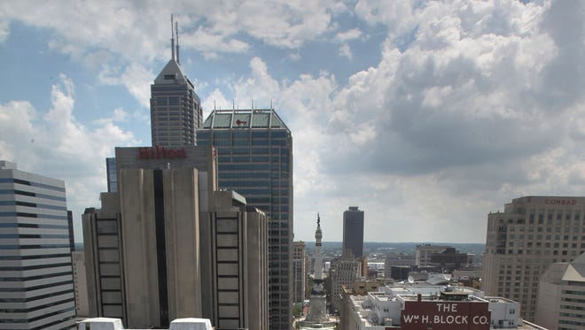 This is the view out the window of the Indiana Statehouse dome looking east toward Monument Circle.