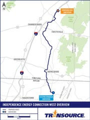 A map showing the proposed route Transource plans to submit to state regulators in Pennsylvania and Maryland. The proposed route will run from Southampton Township to a substation near Smithsburg, Maryland.