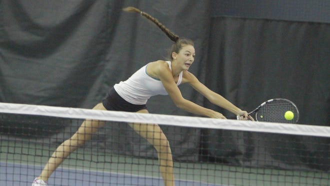 Mamaroneck's Katherine Orgielewicz attempts to hit a volley during the 2016 Section 1 Tennis Tournament finals at Sound Shore Indoor Tennis in Port Chester on Sunday, Oct. 23rd, 2016.