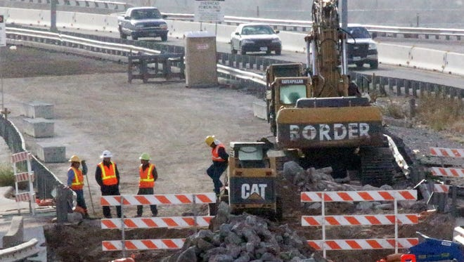 Work continues Wednesday on the Border West Expressway project along the westbound lanes of West Paisano Drive at Racetrack Drive.