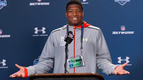 Florida State quarterback Jameis Winston talks with the media during a news conference Friday at the NFL Combine.