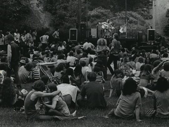 """People gather for a concert in the """"People's Park,"""""""