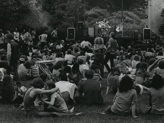 """People gather for a concert in the """"People's Park,"""" also known as the Alternate Site, on June 6, 1971."""