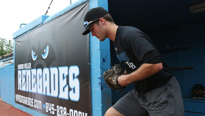 Hudson Valley Renegades' outfielder, Marvin Malone leaves the dugout during practice at Dutchess Stadium on June 13, 2018.