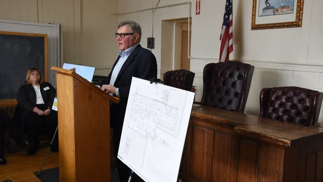 Somerset Mayor Tom Johnson talks about the Genesis Perry Medical Center during a press conference on Friday. The new facility will be within a 12-minute drive of 75 percent of the population of Perry County.