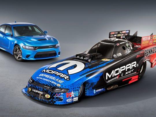 New 2019 Mopar Dodge Charger SRT Hellcat NHRA Funny Car and the 2019 Dodge Charger SRT Hellcatproduction model.