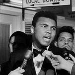 Muhammad Ali at the draft board office in Louisville, March 17, 1966.