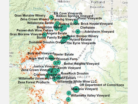 Participating Willamette Valley land owners and forest