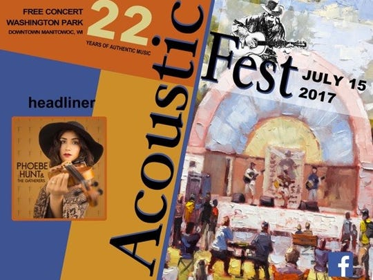 Acoustic Fest will be from 11 a.m. to 9 p.m. July 15 at Washington Park in Manitowoc.