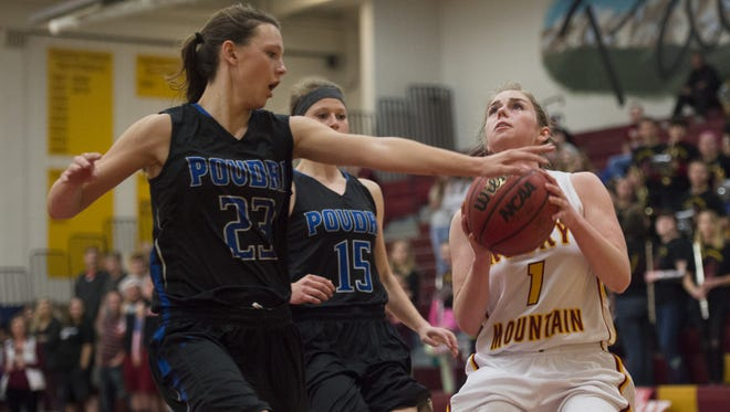 Kiley Towne of Rocky Mountain High School, right, has her shot contested by Poudre's McKenzee Gertz in a game last season.