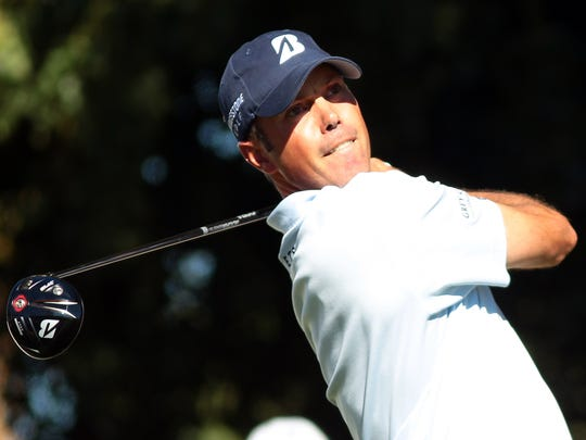 Matt Kuchar, who led the tournament for most of the day, tees off on the ninth hole of the Palmer Private Course at PGA West during the Humana Challenge's third round on Saturday, January 24, 2015 in La Quinta, Calif. Kuchar parred the hole, but stumbled late in his round finishing at -1 on the day and -16 for the tournament in a four-way tie for fifth place.