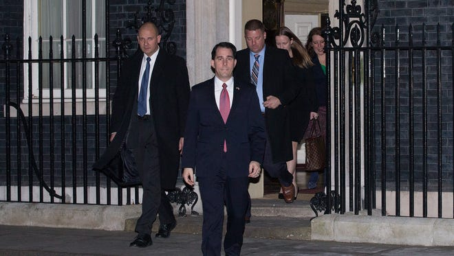 Gov. Scott Walker leaves 10 Downing Street after a private meeting with British Prime Minister David Cameron in London, England.
