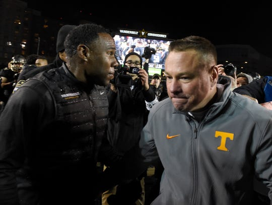 Vanderbilt coach Derek Mason and Tennessee coach Butch