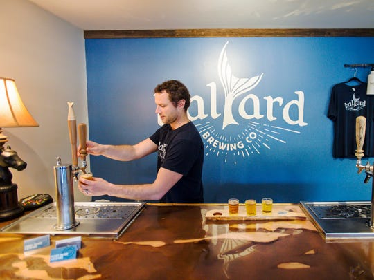 Kenny Richards pours a flight of ginger beers at Halyard Brewing Co. in South Burlington on Tuesday, April 25, 2017.