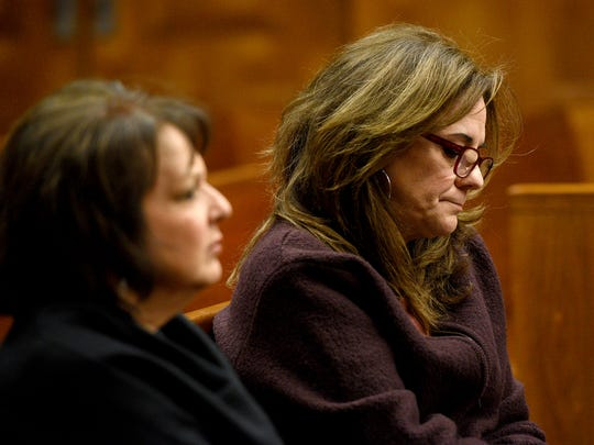 Angelica Lenge, right, with a victim advocate, Susan Tanis, at Joseph Ferretti's trial.