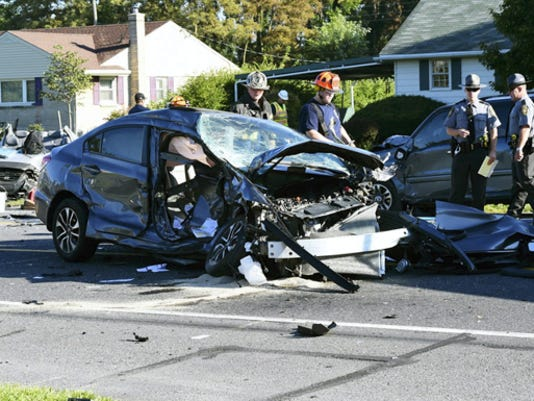Three damaged vehicles are pictured at the scene of the Aug. 2014 accident. One driver, 51-year-old Thomas Titus, Gettysburg, was pronounced dead after having a heart attack.