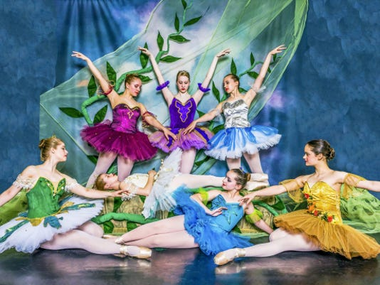 The good fairies holding vigil over Princess Aurora (Rachel Miller, center front) are, clockwise from left front, Ellen Diehl, Emaline Cook, Jessica Daywalt, Emily Mellott, Olivia Hritz and Alcinda Burchill. The ballet 'Sleeping Beauty' will be performed June 13 in two performances at Capitol Theatre, Chambersburg.