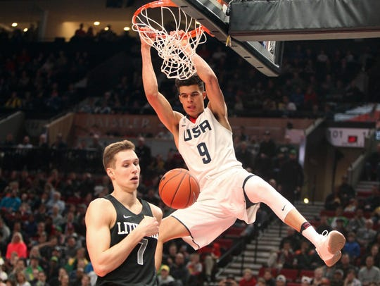 Team USA's Michael Porter Jr. dunks during the first