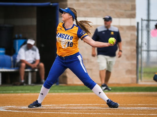 Angelo State's Morgan Hill pitches against Texas A&M-Commerce during the Division II South Central Super Regional Friday, May 18, 2018, at Mayer Field.