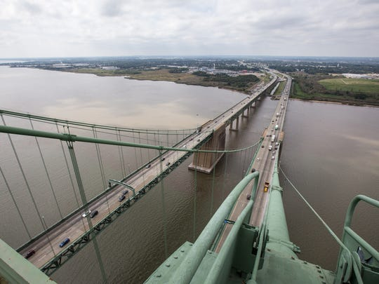 Traffic drives on the Delaware Memorial Bridge onto Interstate 295 on Sept. 19. A $33.7 million upgrade of the interstate is planned.