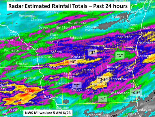 Wisconsin's rainfall from last night