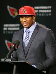 Arizona Cardinals' first round draft pick Deone Bucannon is introduced at a press conference on May 9, 2014 at Cardinals training facility in Tempe.