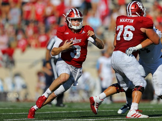 Sep 23, 2017; Bloomington, IN, USA; Indiana Hoosiers quarterback Peyton Ramsey (3) carries the ball against the Georgia Southern Eagles in the first half at Memorial Stadium. Mandatory Credit: Aaron Doster-USA TODAY Sports