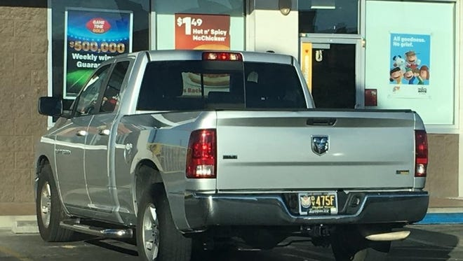 Police are searching for a suspected of stealing this 2012 Dodge Ram pickup on Thursday at a McDonald's restaurant.