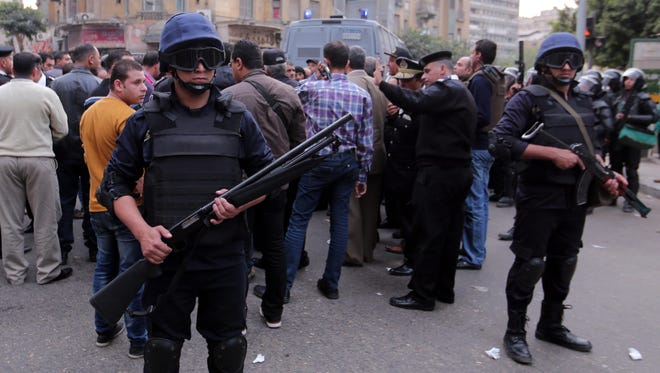 Egyptian riot police are deployed near Tahrir Square, in Cairo, on Nov. 19.