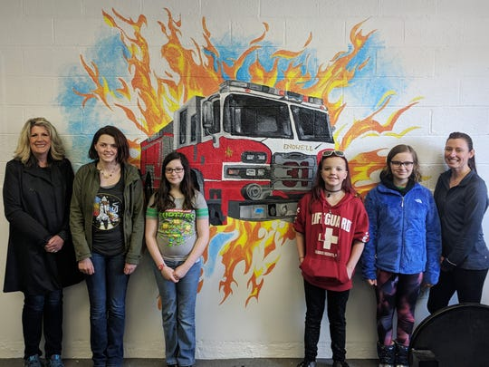 Students and faculty of the Maine-Endwell Central School District recently completed a mural for the Endwell Fire Station.