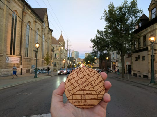 Milwaukee Beer Gear's flagship product line are wooden coasters etched with maps of the city's neighborhoods.