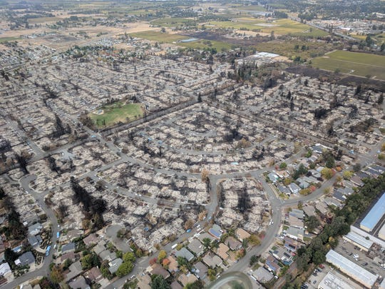 This aerial photo, taken on Oct. 20, 2017, shows the near complete destruction of the Coffey Park neighborhood of Santa Rosa. All told, the city and county lost some 5,000 structures, and more than 20 people were killed by the raging wildfires.