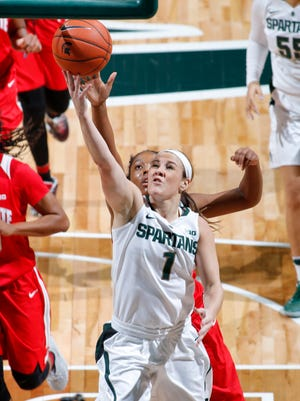 Michigan State's Tori Jankoska (1) gets a layup against Ohio State Tuesday, Jan. 10, 2017, in East Lansing, Mich.