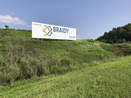 This Aug. 22, 2018, file photo shows a sign declaring the future home of Braidy Industries' aluminum mill in Ashland, Ky. An aluminum company planning to build a $1.7 billion plant in Appalachia is forming a partnership with a Russian company that until recently faced U.S. sanctions.