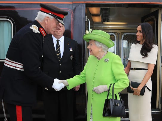 Britain's Queen Elizabeth II arrives with Britain's