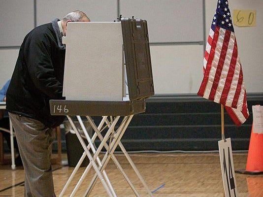 Voter at booth