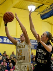 Northern Lebanon's Amber Kintzer pulls down an offensive