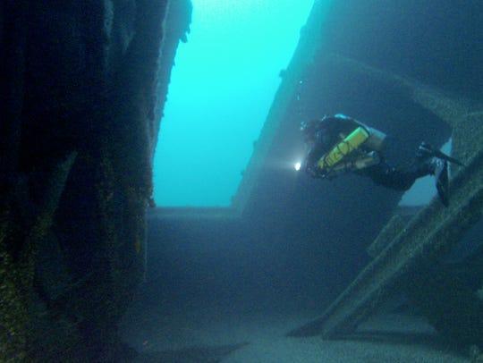 Diver Marty Lutz swims inside the massive cargo area